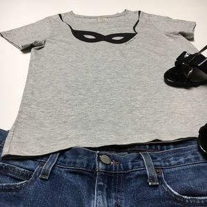 Kate Spade Gray Mask Shirt, Steal the Scene, sz XS